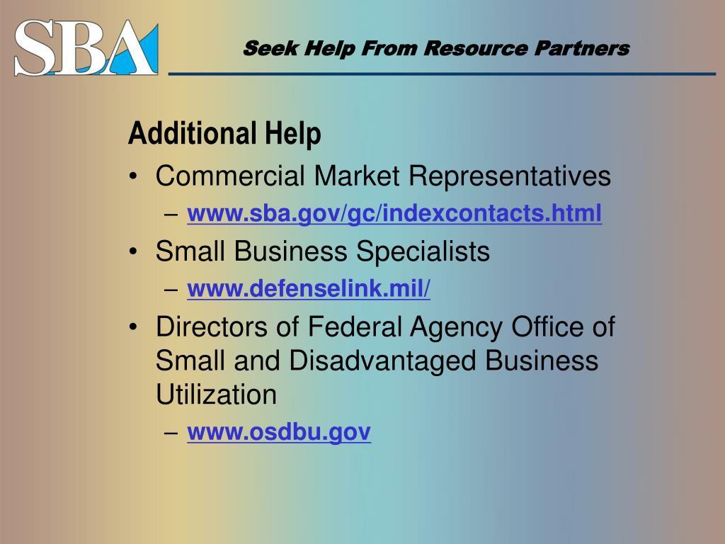 Seek Help From Resource Partners