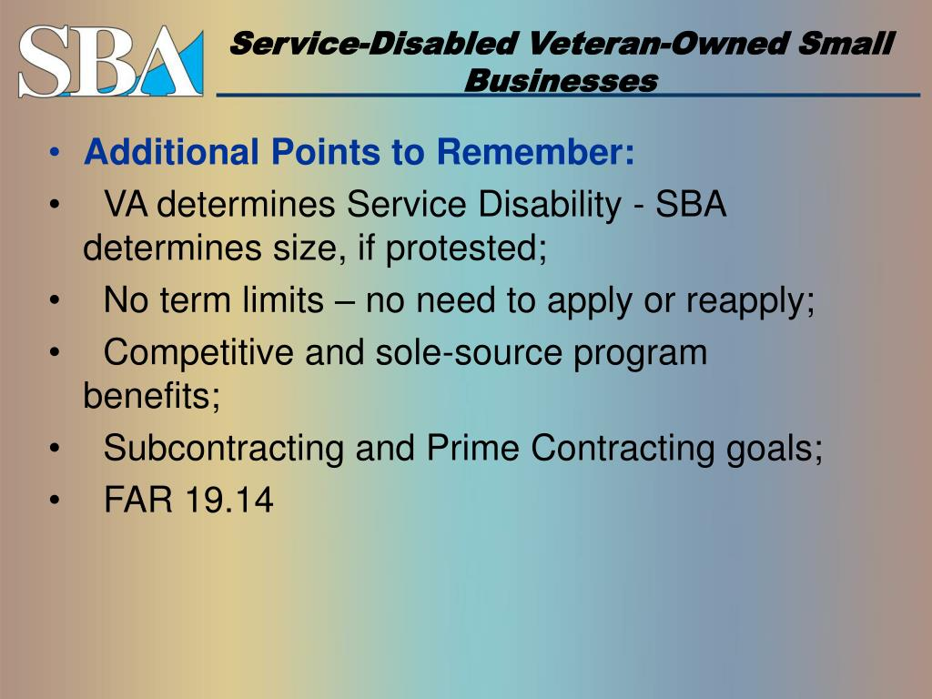 Service-Disabled Veteran-Owned Small Businesses