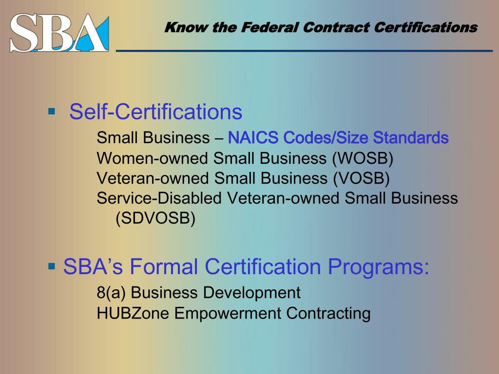 Know the Federal Contract Certifications