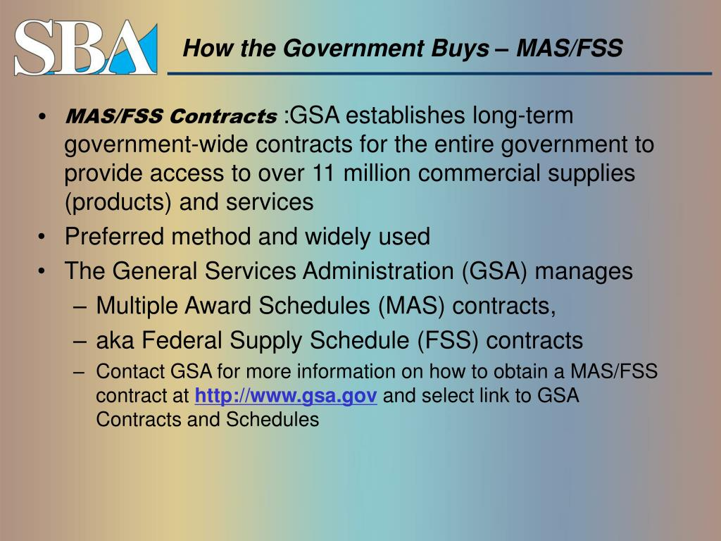 How the Government Buys – MAS/FSS