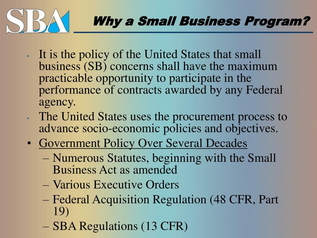 Why a Small Business Program?