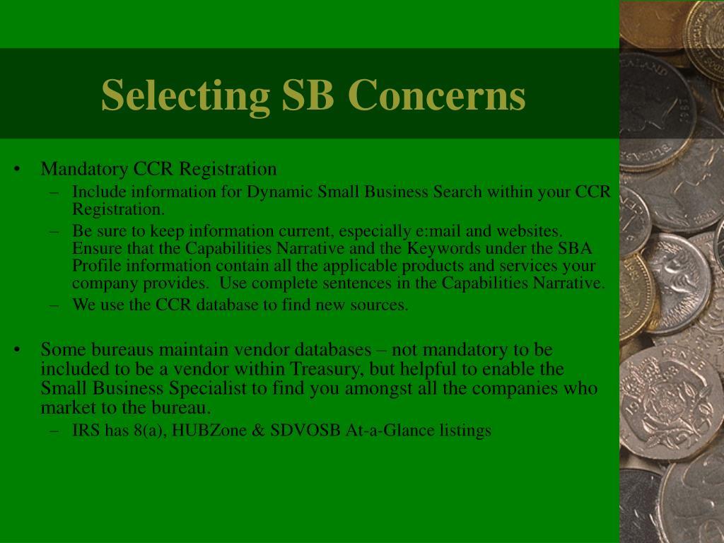 Selecting SB Concerns