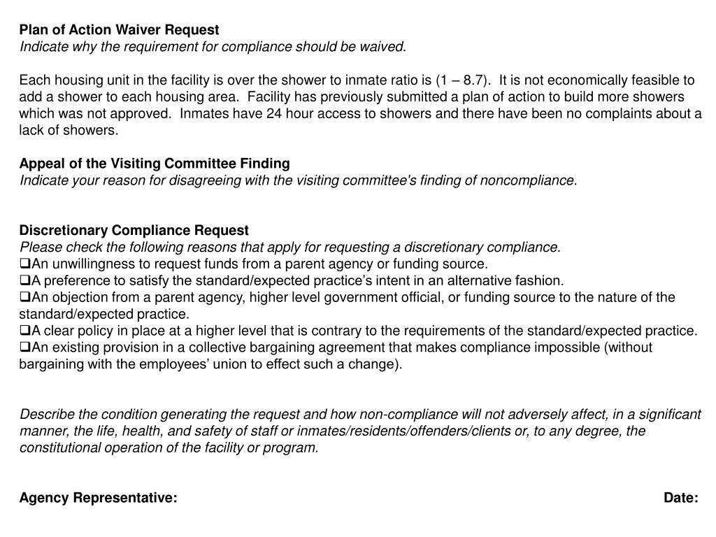 Plan of Action Waiver Request