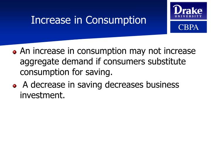 Increase in consumption