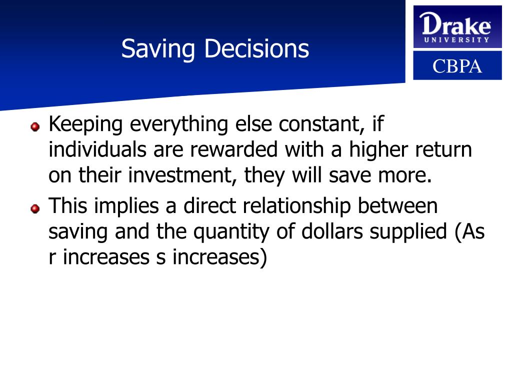 Saving Decisions