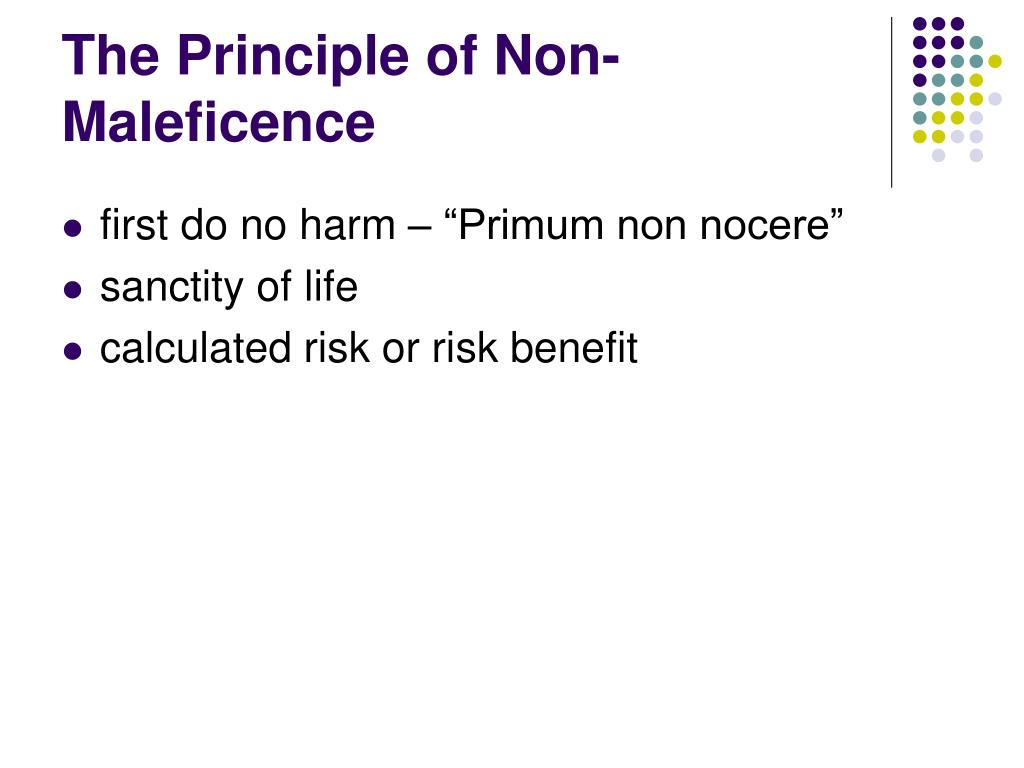 The Principle of Non-Maleficence