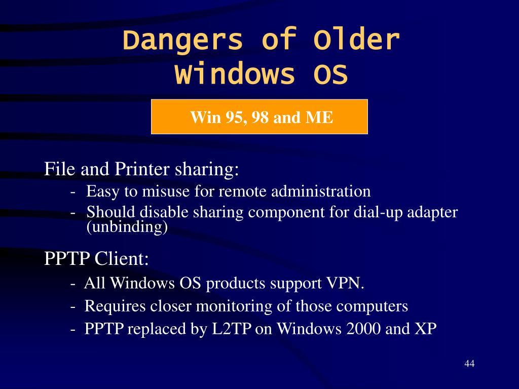 Dangers of Older Windows OS