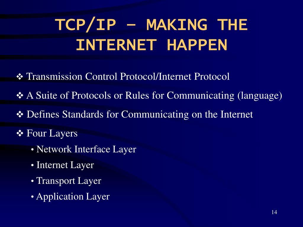 TCP/IP – MAKING THE INTERNET HAPPEN