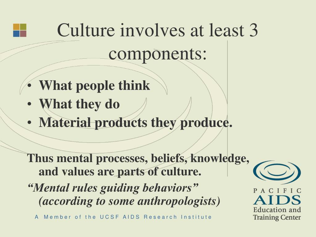 Culture involves at least 3 components: