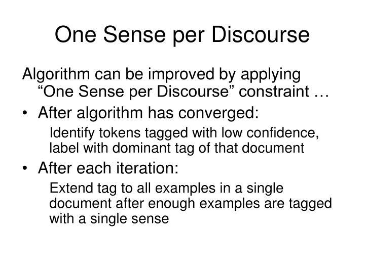 One Sense per Discourse