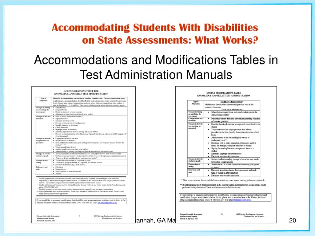 Accommodations and Modifications Tables in Test Administration Manuals