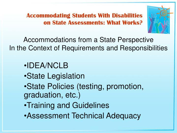 Accommodations from a state perspective in the context of requirements and responsibilities l.jpg