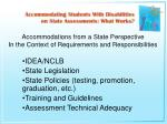 accommodations from a state perspective in the context of requirements and responsibilities