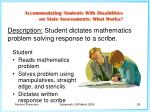 description student dictates mathematics problem solving response to a scribe
