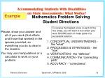 mathematics problem solving student directions