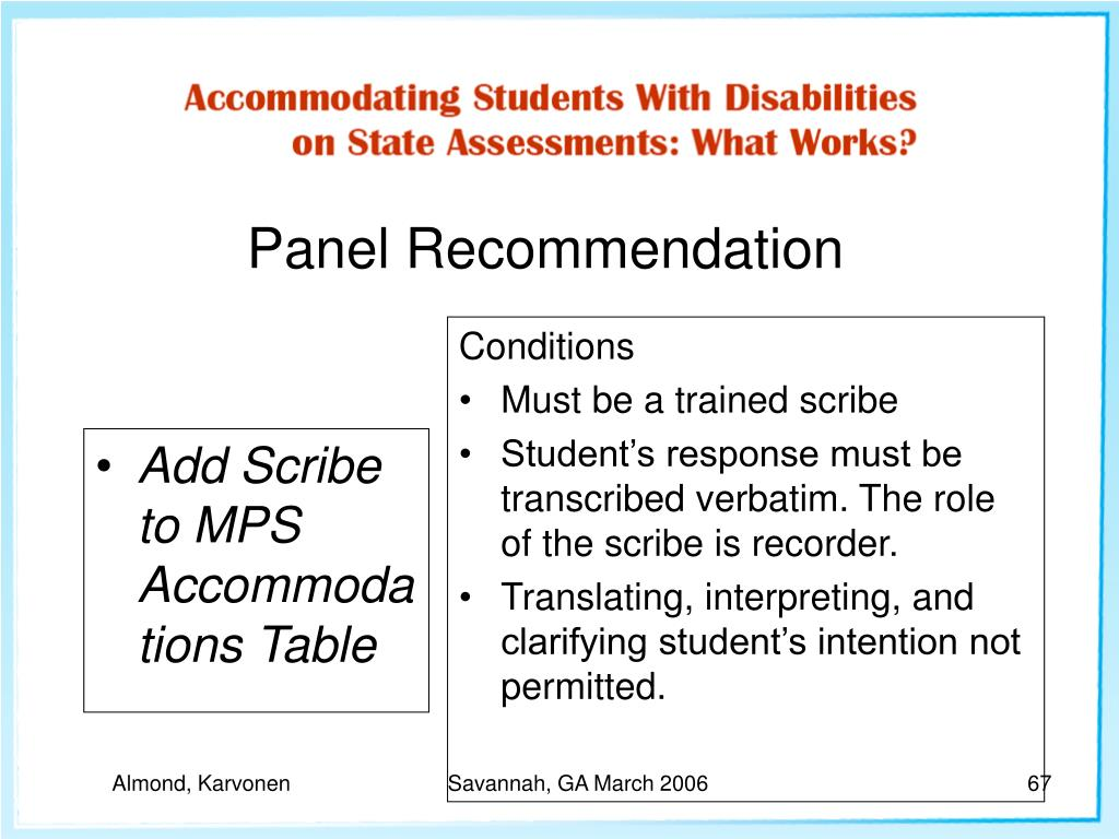 Add Scribe to MPS Accommodations Table