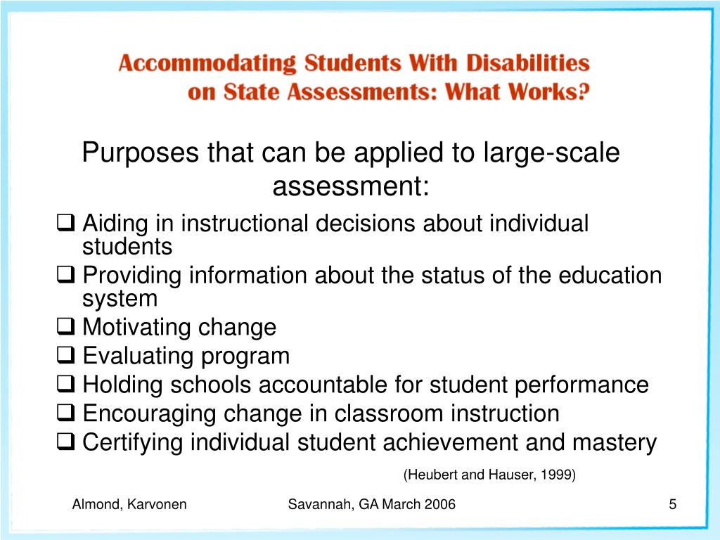 Purposes that can be applied to large-scale assessment: