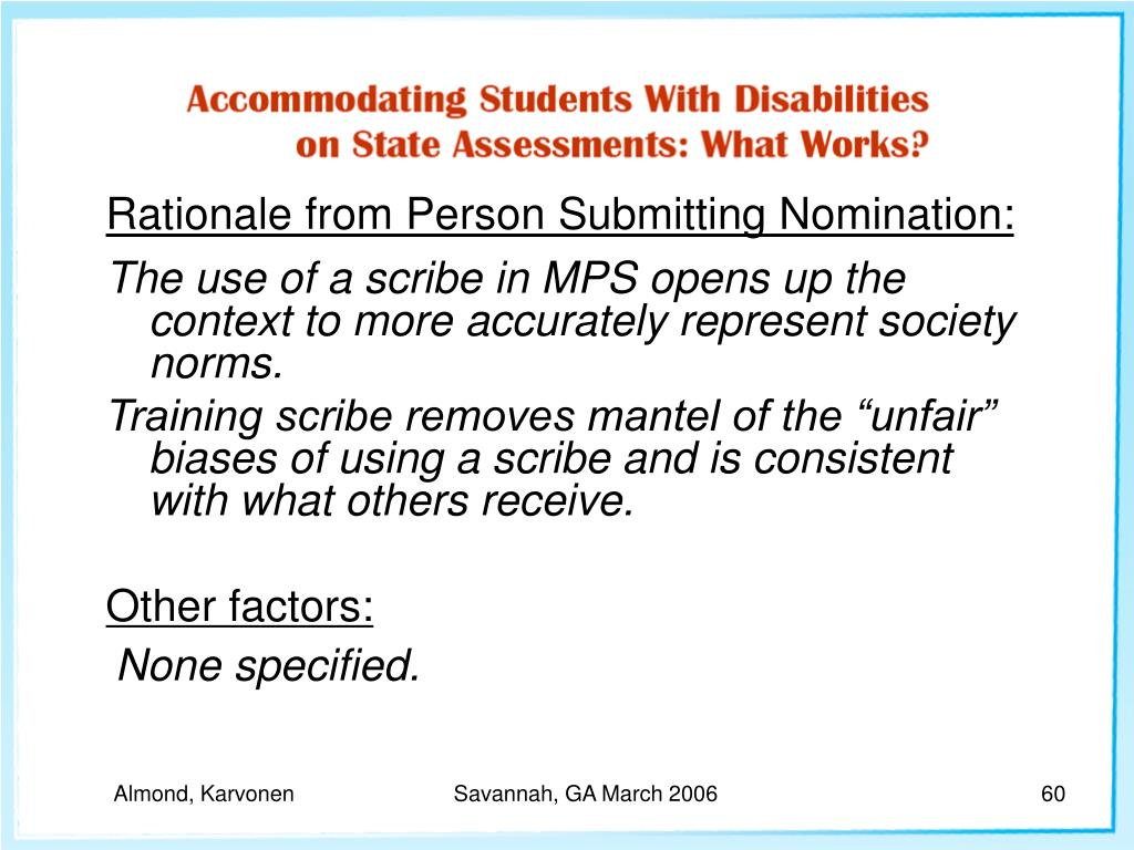 Rationale from Person Submitting Nomination: