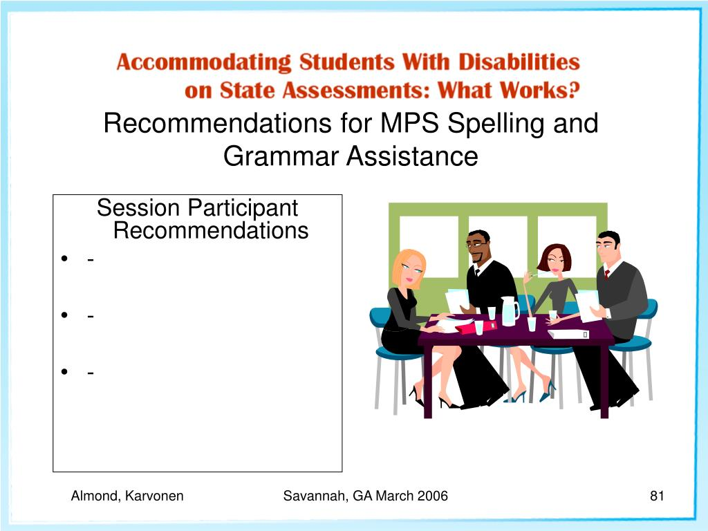 Recommendations for MPS Spelling and Grammar Assistance
