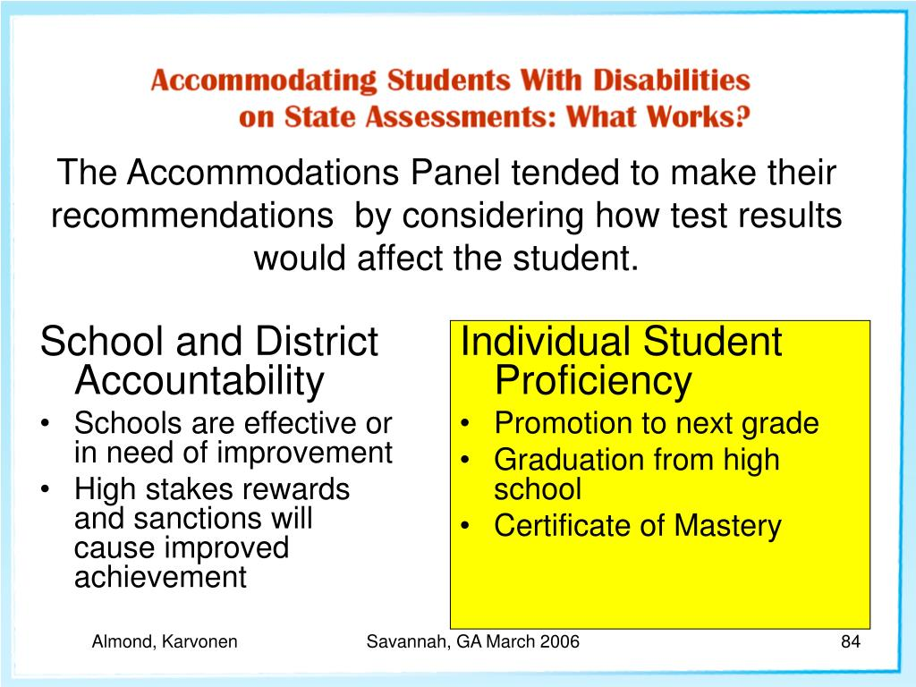 School and District Accountability