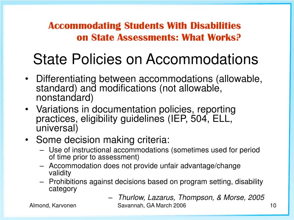 State Policies on Accommodations