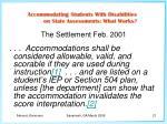 the settlement feb 2001