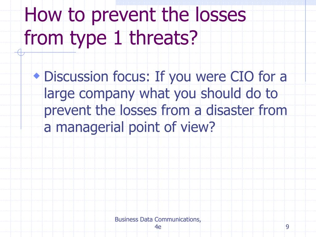 How to prevent the losses from type 1 threats?
