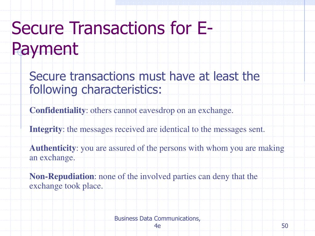 Secure Transactions for E-Payment