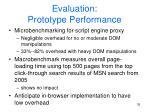evaluation prototype performance