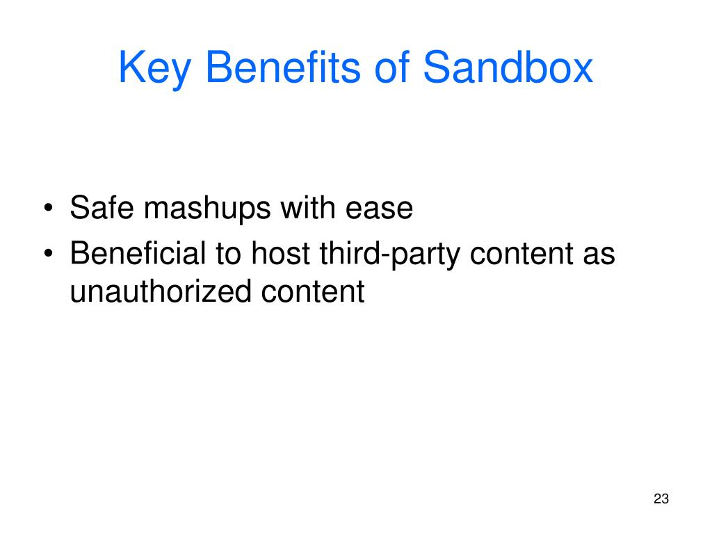 Key Benefits of Sandbox