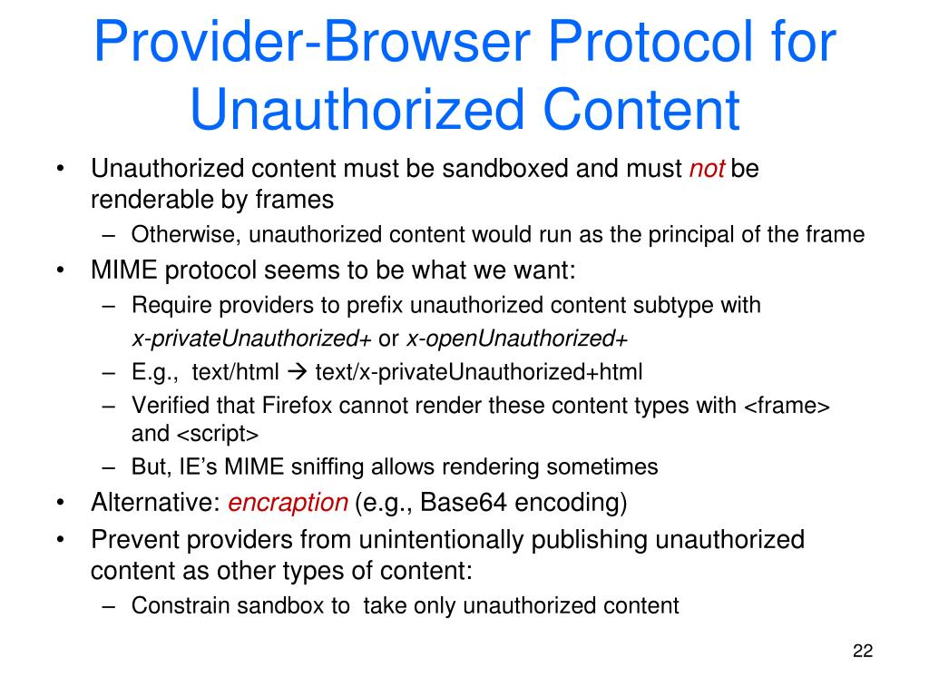 Provider-Browser Protocol for Unauthorized Content