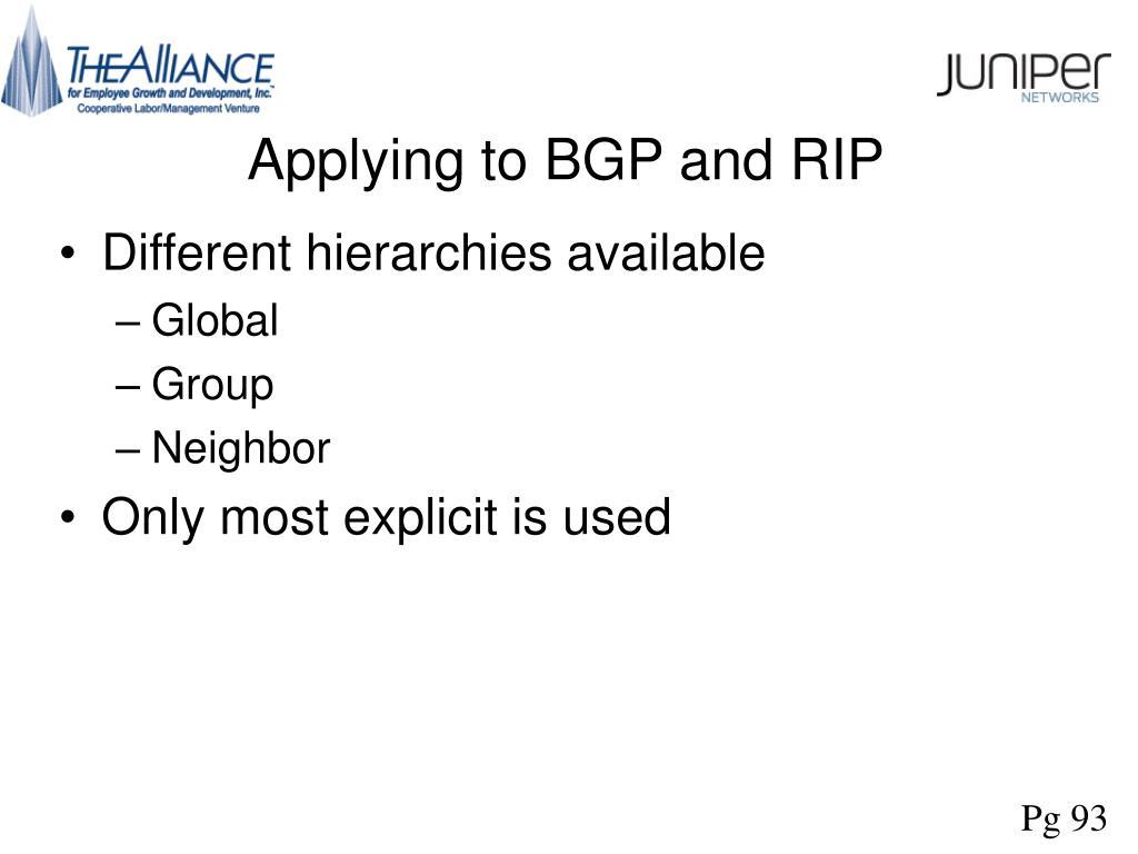 Applying to BGP and RIP
