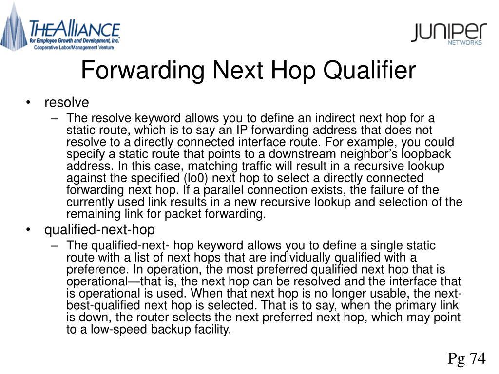 Forwarding Next Hop Qualifier