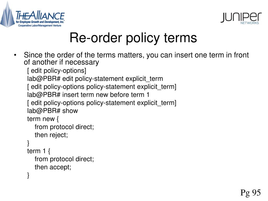 Re-order policy terms