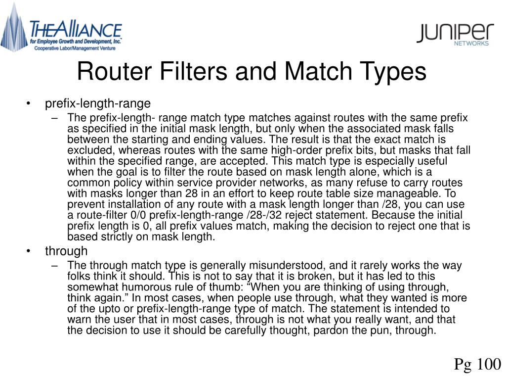 Router Filters and Match Types