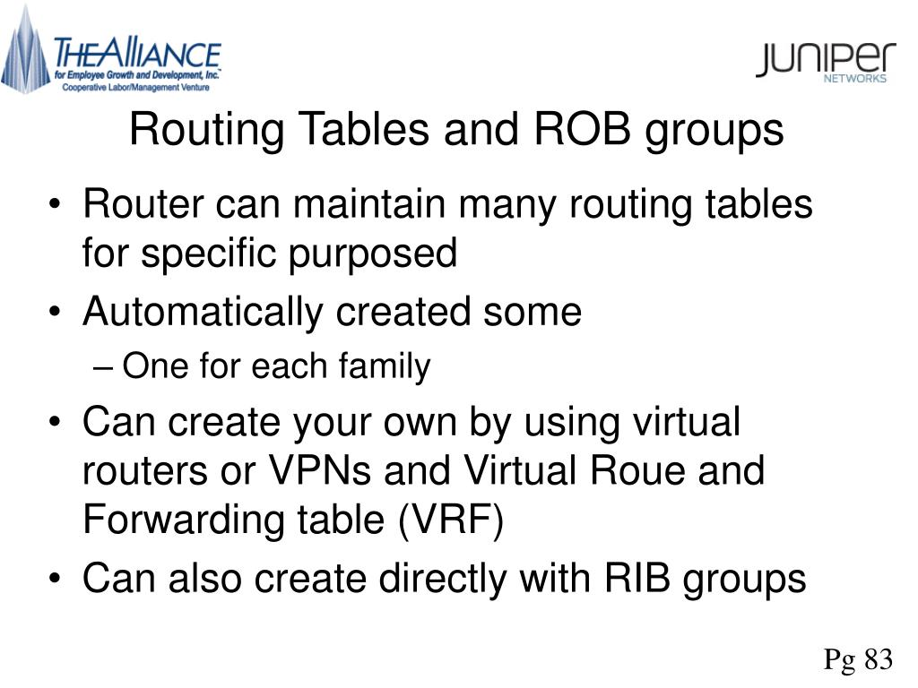 Routing Tables and ROB groups