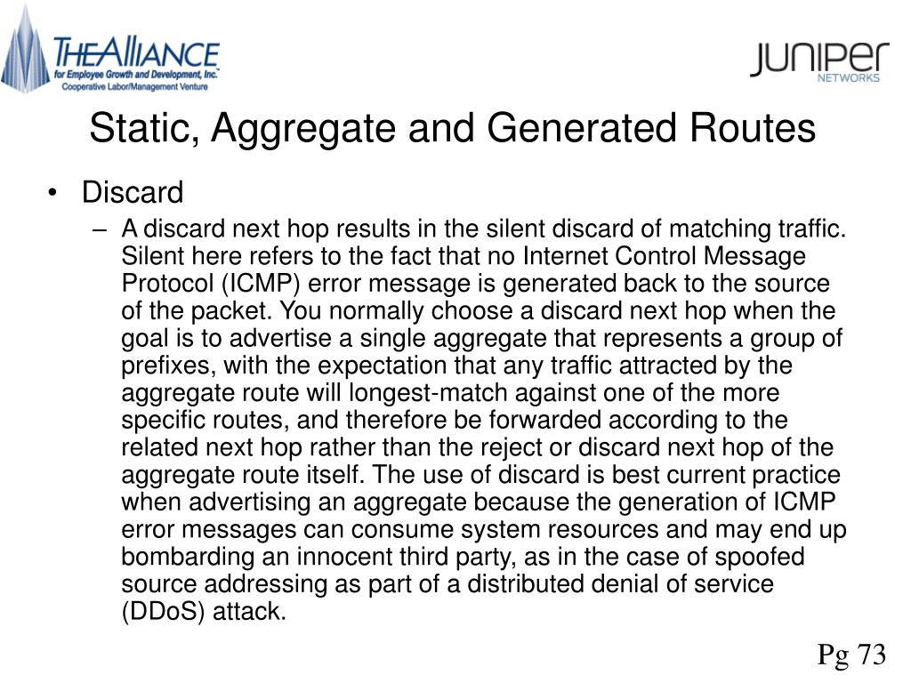 Static, Aggregate and Generated Routes
