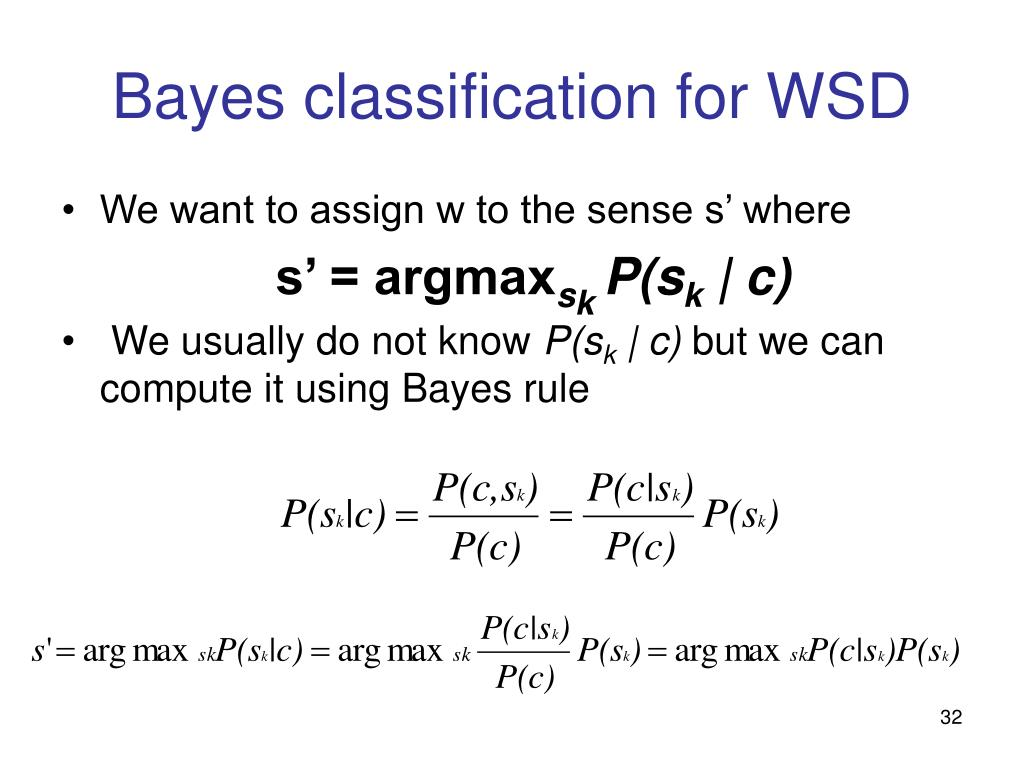 Bayes classification for WSD
