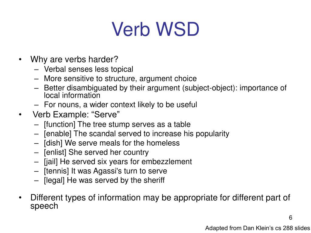 Verb WSD