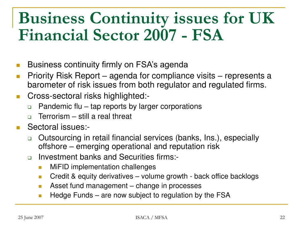Business Continuity issues for UK Financial Sector 2007 - FSA