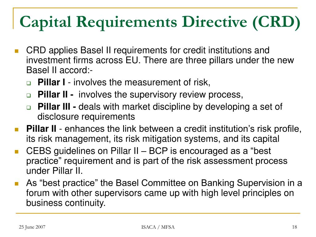 Capital Requirements Directive (CRD)