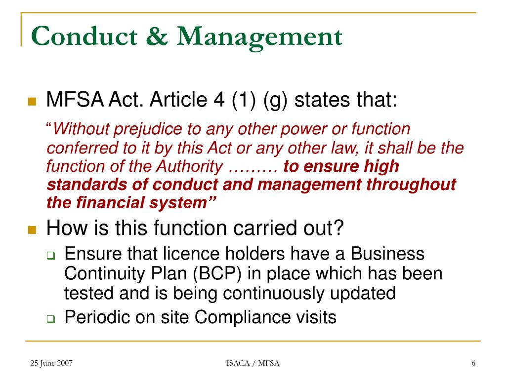 Conduct & Management