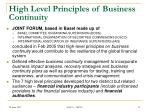 high level principles of business continuity