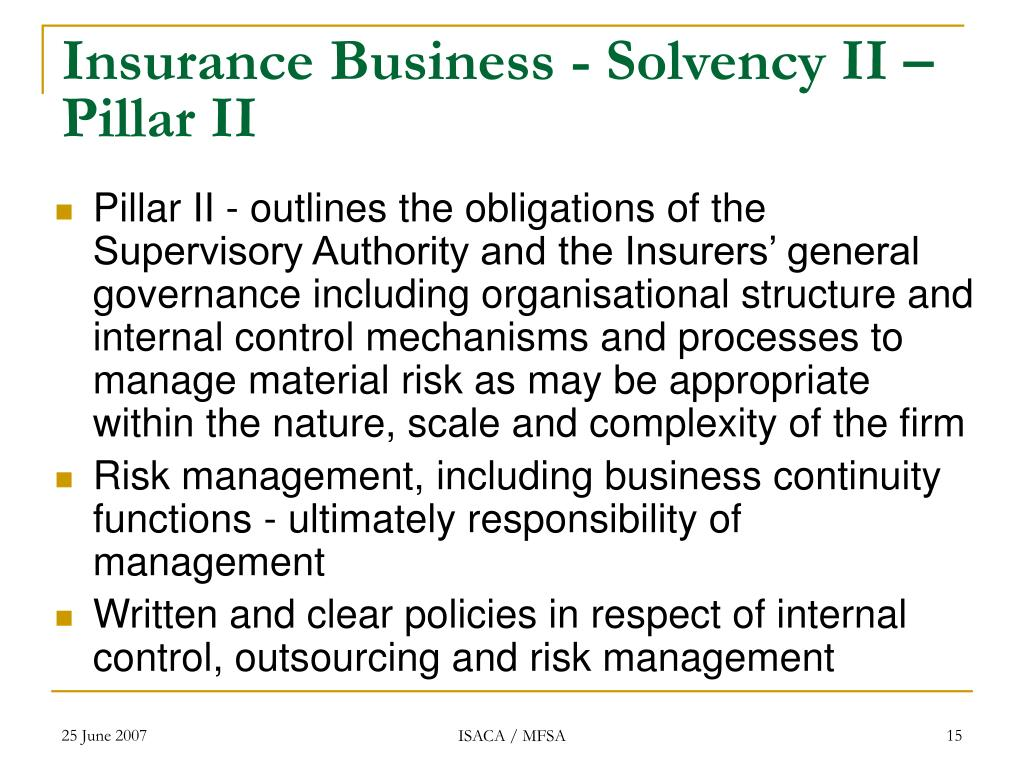Insurance Business - Solvency II – Pillar II