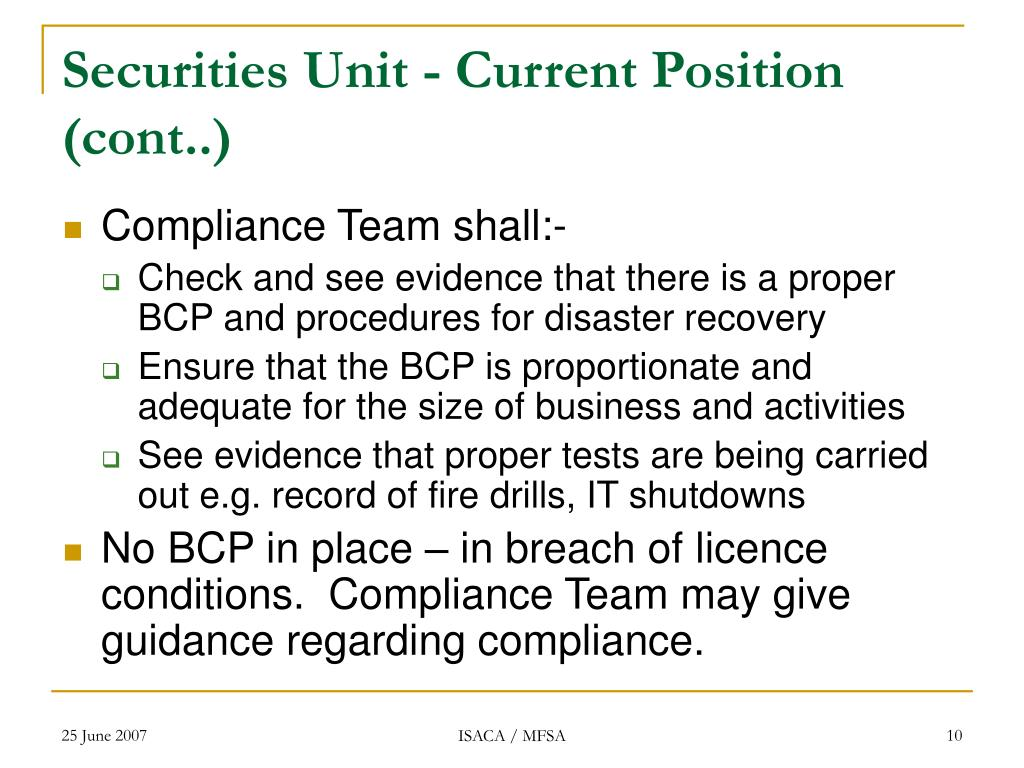 Securities Unit - Current Position (cont..)