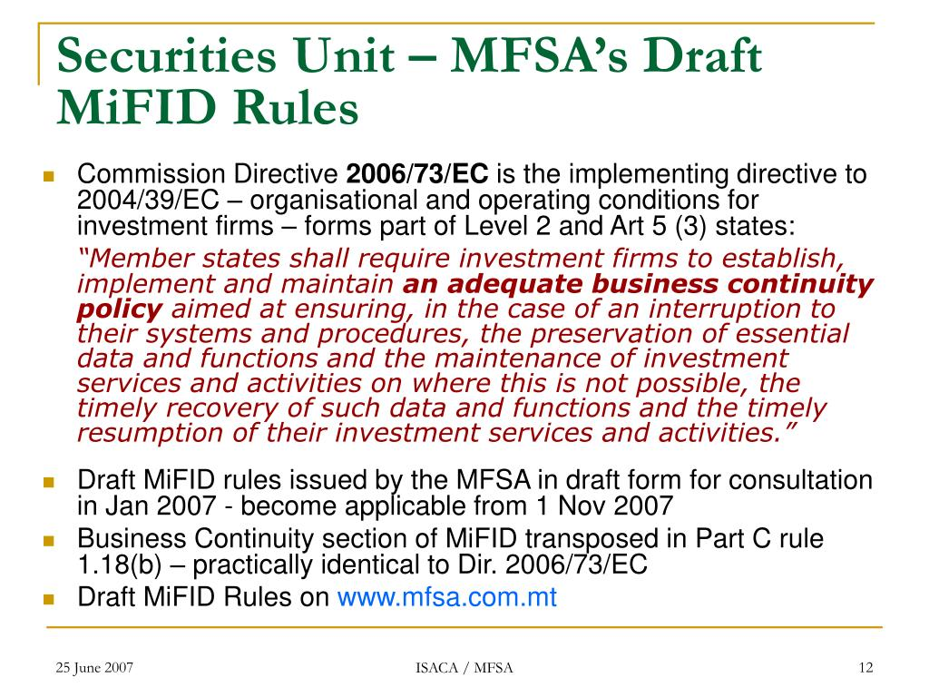 Securities Unit – MFSA's Draft MiFID Rules