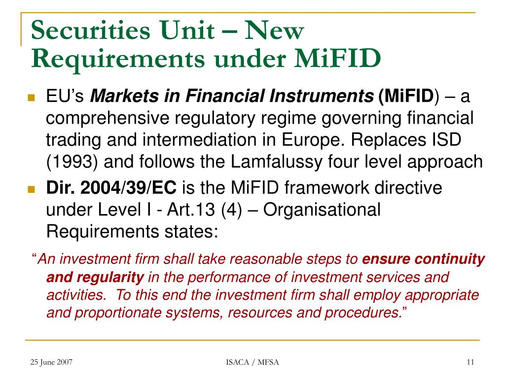 Securities Unit – New Requirements under MiFID