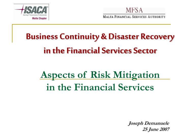 Business Continuity & Disaster Recovery in the Financial Services Sector