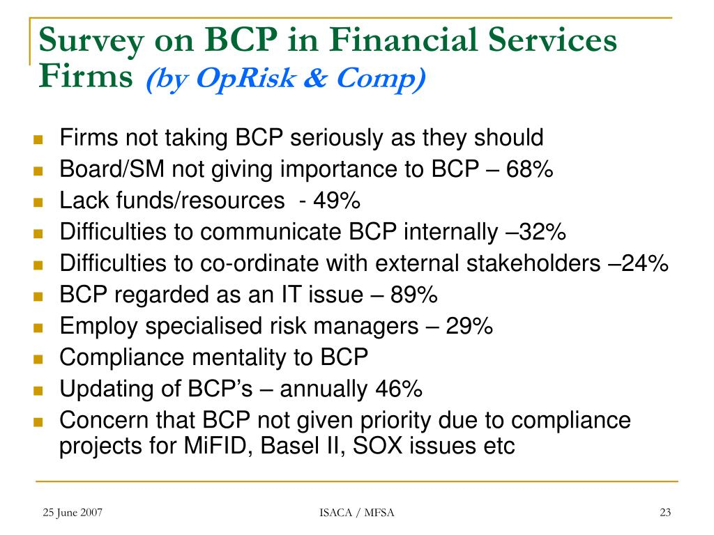 Survey on BCP in Financial Services Firms