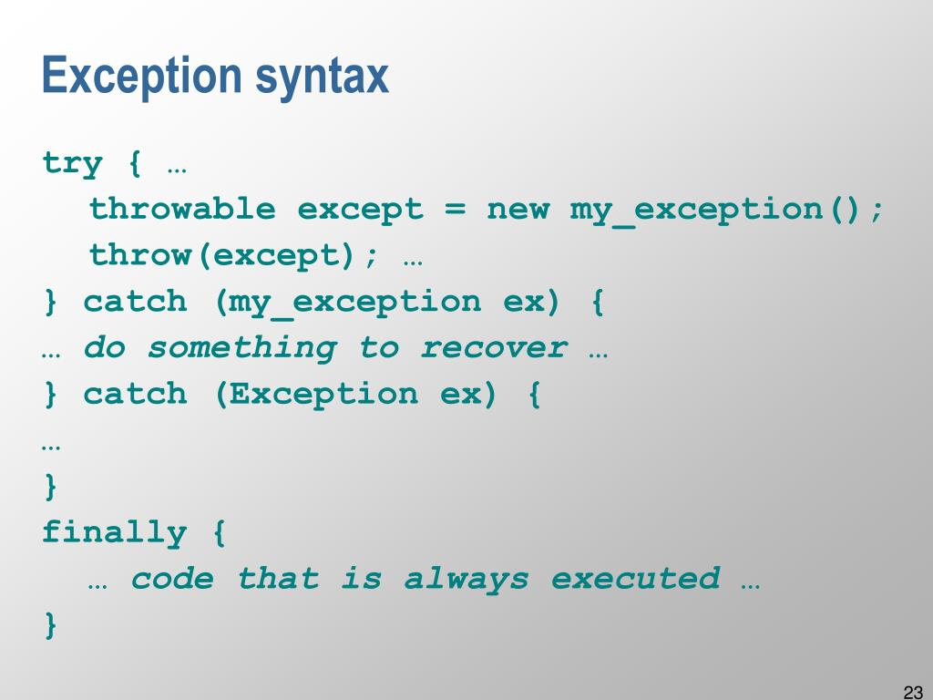 Exception syntax